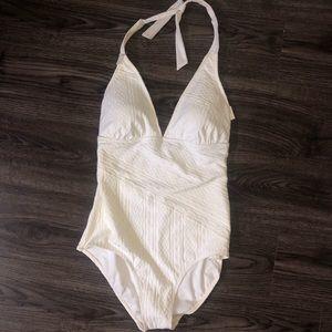 1a335e0e4324f Perry Ellis white one piece bikini w/plunge cut 8